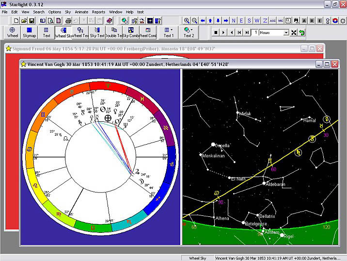 Chart and Sky Views are Linked: View the chart with the sky and the stars for the moment of birth.