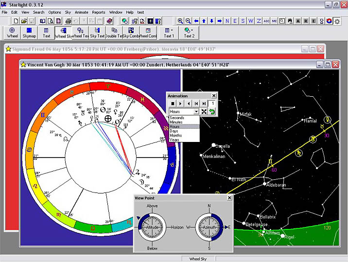 Animation: Animate the chart and sky, watch how the chart moves through time and how the horoscope reflects the moving sky. See a planet rise in the chart, and watch it rise in the Sky Map. Use the Starlight sky navigator to help you moved around the night sky.