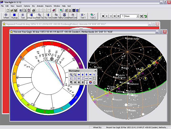Understand the Chart and Sky: See the ecliptic (the ring of the zodiac around the chart) in both the chart and the sky at once. Note the planets in the chart, and notice how that are placed in the sky.