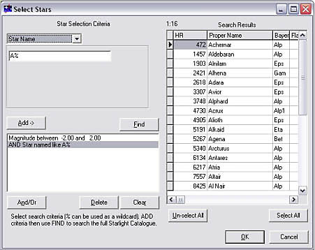 "The Catalogue Search Engine: Create star sets using Starlight's special star catalogue search engine. This example is to create a star set which is every bright star whose proper name stars with ""A""."